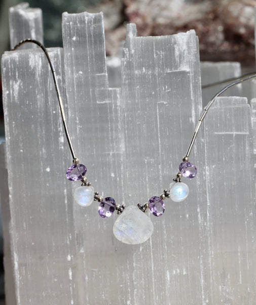 Rainbow Moonstone Amethyst Beaded Necklace