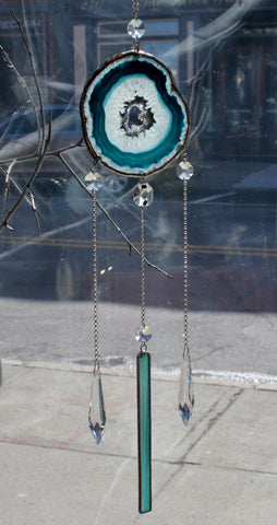 Teal Agate Crystal Glass Sun Catcher