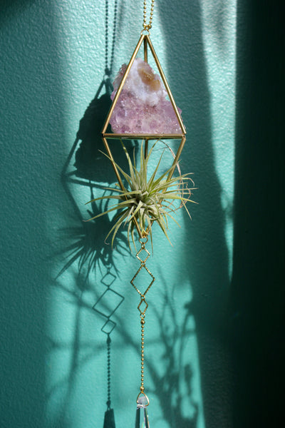 Geometric Brass Sun Catcher with Amethyst and Airplant