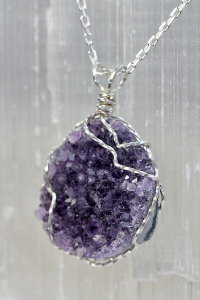 Dark Amethyst Druzy Necklace