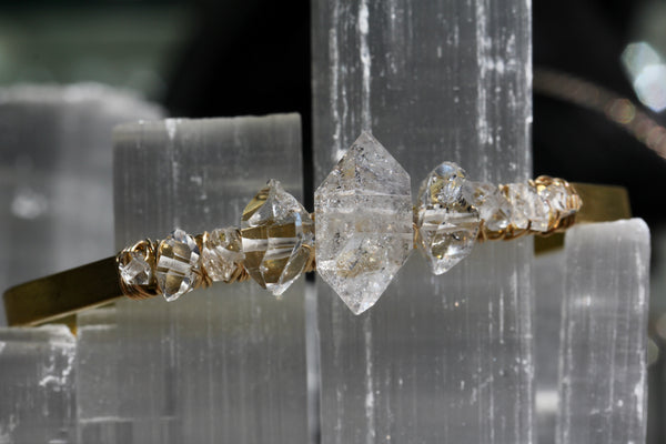 Herkimer Diamond Wrapped Cuff Bracelet