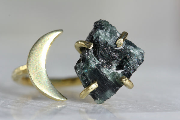 Green Tourmaline Crystal Moon Ring