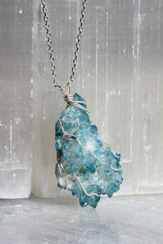 Raw hemimorphite cluster and hammered brass necklace