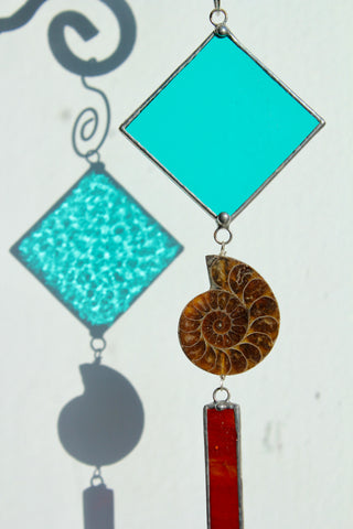 Ammonite Stained Glass Ornament