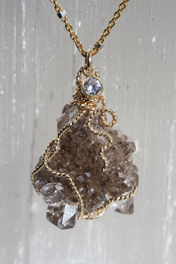 Herkimer Diamond Smokey Druzy Necklace