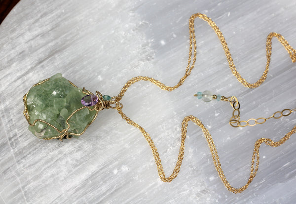 Prehnite Druzy Amethyst Gold Wrapped Pendant