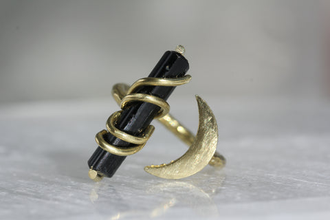 Black Tourmaline Crystal Moon Ring