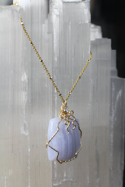 Blue Lace Agate Gold Swirl Necklace