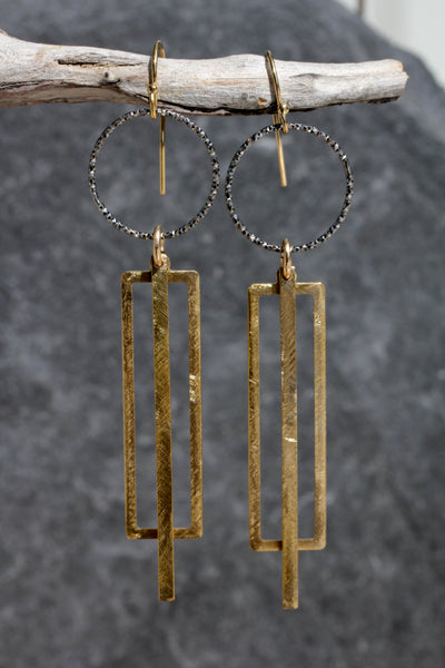 Black and Gold Geometric Earrings