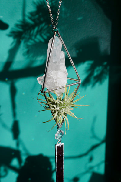 Quartz Red Stained Glass Sun Catcher with Air Plant