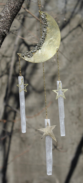 Celestial Mobile with Selenite and Pyrite