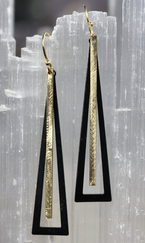 Black and Gold Brass Bar Pendulum Earrings