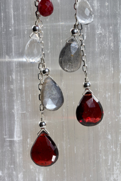 Briolette Chain Drop Earrings with Garnet, Grey Moonstone, Quartz and Ruby