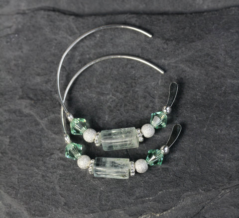 Aquamarine Chrysolite Swarovski Hoops