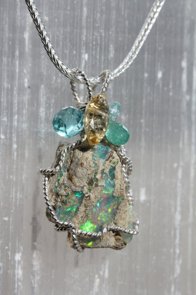 Raw Ethiopian Opal Pendant with Emerald, Citrine and Apatite