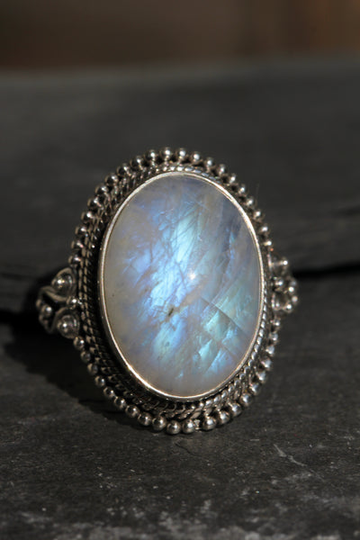 Rainbow Moonstone Statement Ring