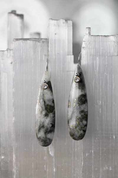 Pyrite Quartz Long Teardrop Earrings with Cubic Zirconia