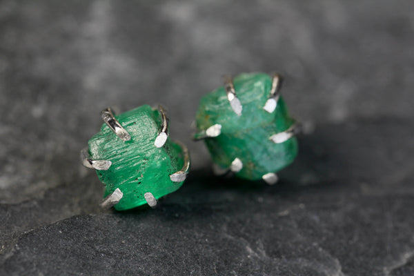 Rough Colombian Emerald Studs