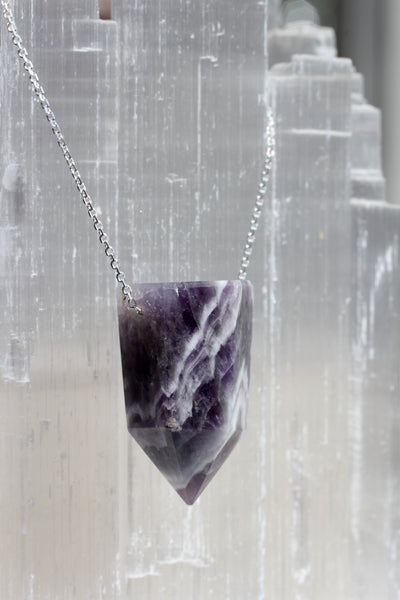 Chevron Amethyst Crystal Point Necklace