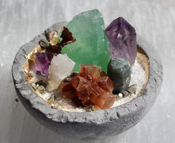 Mini Crystal Rock Garden with Green Calcite