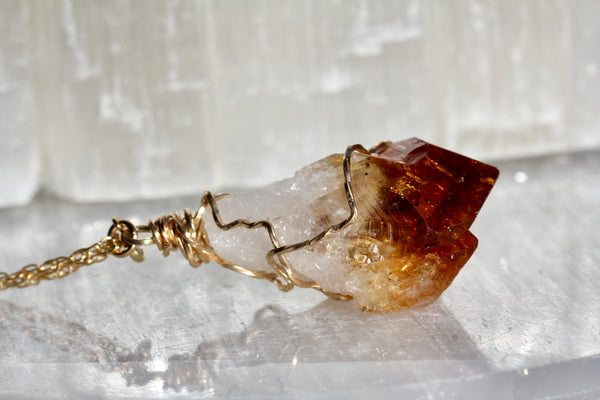 Citrine Crystal Gold Necklace