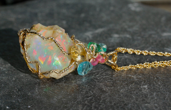 Ethiopian Opal Gold Wrap Pendant - with Citrine, Apatite, Emerald and Spinel
