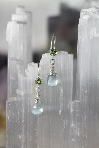 Aquamarine Peridot Drop Earrings