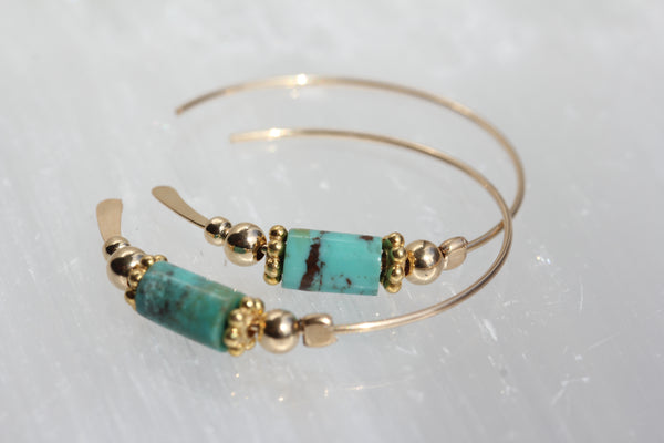 Turquoise Gold Hoops