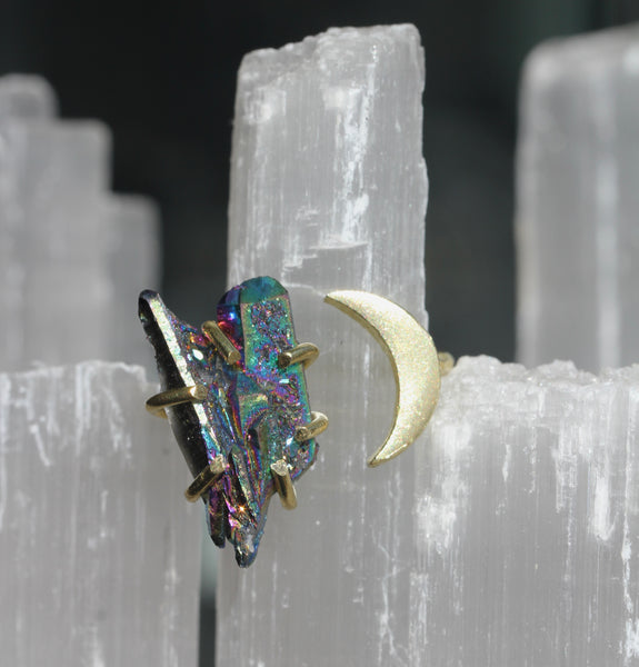Titanium Quartz Crystal Moon Ring