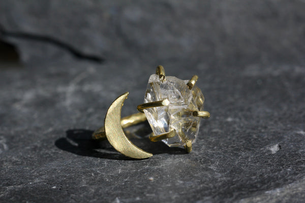 Herkimer Diamond Crystal Moon Ring