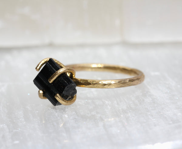 Black Tourmaline Brass Ring