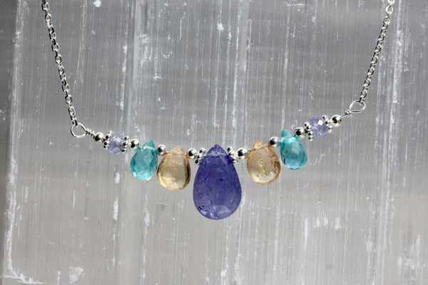 Tanzanite Apatite Imperial Topaz Delicate Necklace