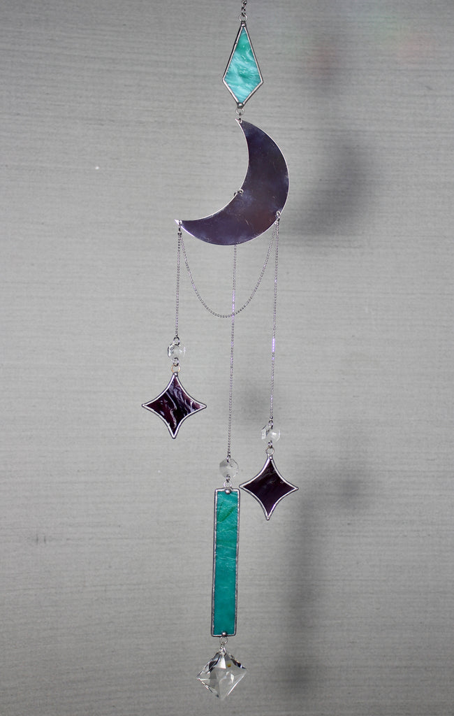 Teal Green and Purple Celestial Crystal Mobile