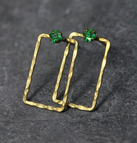 Geometric Hammered Brass Green Crystal Post Earrings