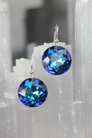 Bermuda Blue Swarovski Crystal Dime Drop Earrings