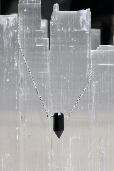 Black Onyx Crystal Point Necklace
