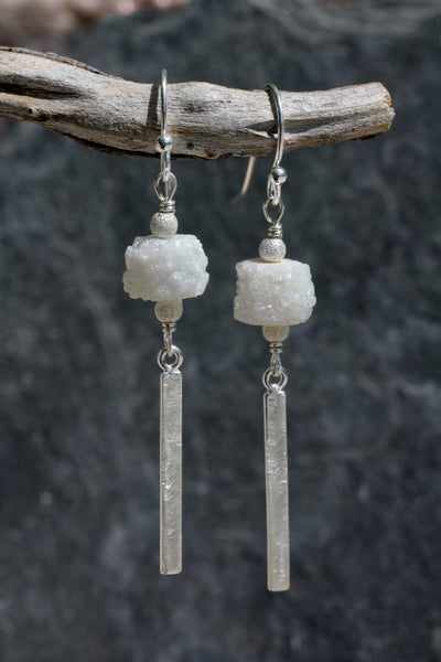 Quartz Druzy Silver Bar Drop Earrings