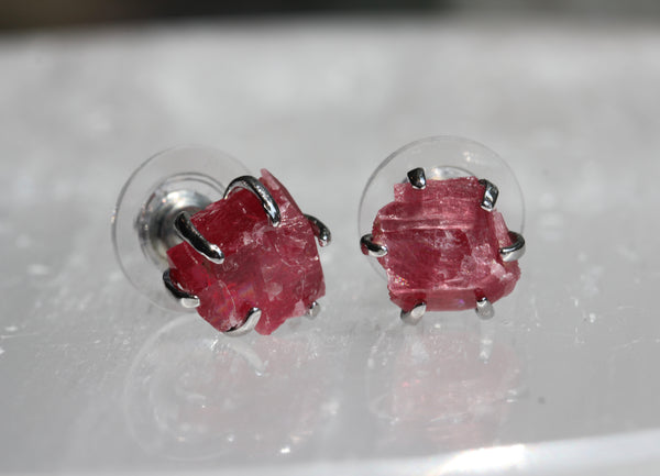 Raw Rhodonite Studs