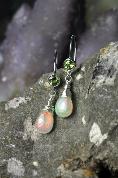 Opal Peridot Teardrop Earrings