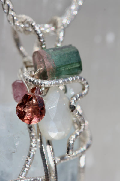 Aquamarine Crystal with Moonstone and Tourmaline