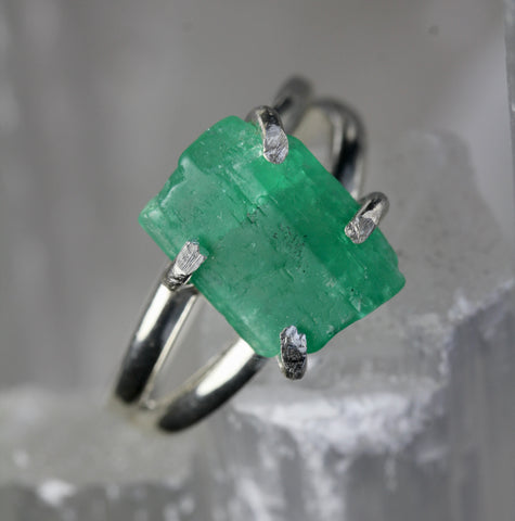 Rough Colombian Emerald Silver Ring