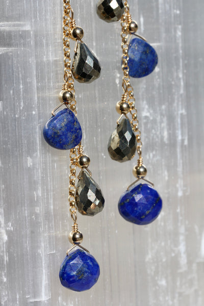 Lapis and Pyrite Briolette Chain Drop Earrings