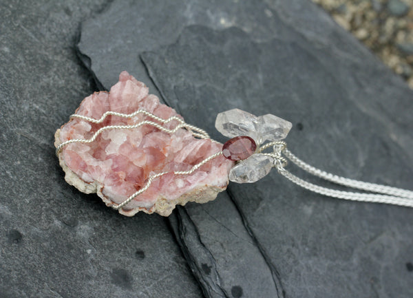 Pink Amethyst Druzy Pendant with Tourmaline and Herkimer Diamonds