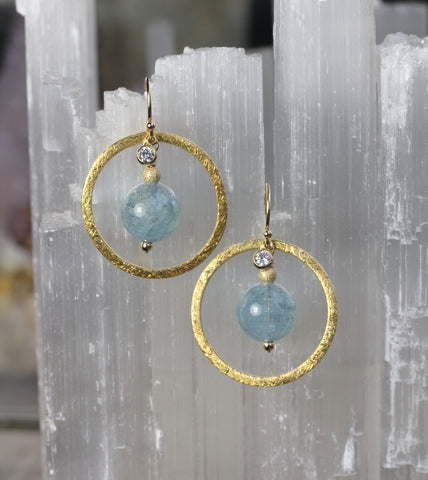 Aquamarine Brushed Gold Ring Earrings
