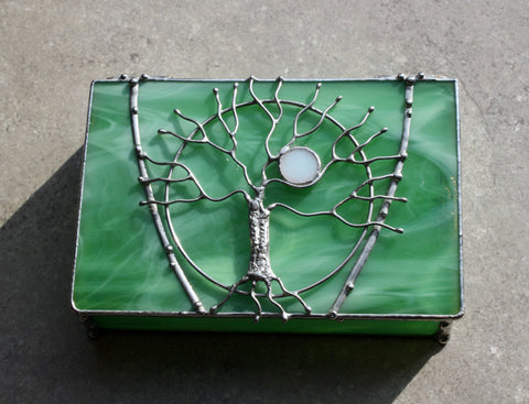 Tree of Life Spring Green Stained Glass Box