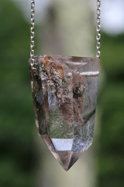 Lodolite Chunky Crystal Point Long Necklace