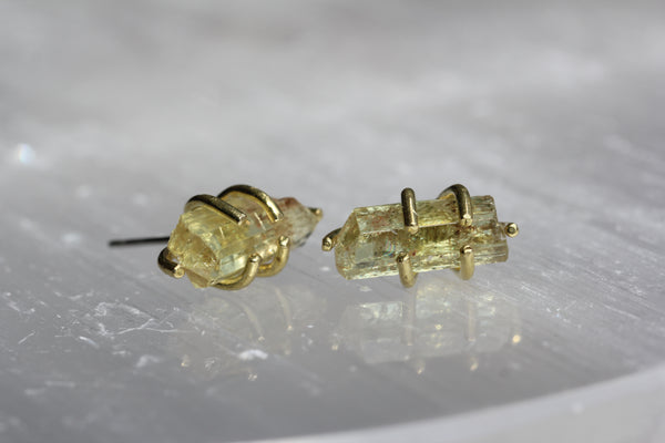 Yellow Apatite Crystal Earrings