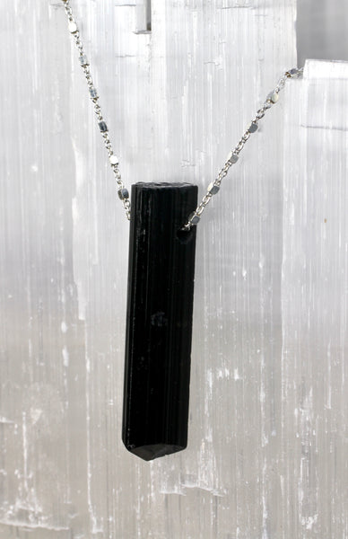 Black Tourmaline Crystal Long Necklace
