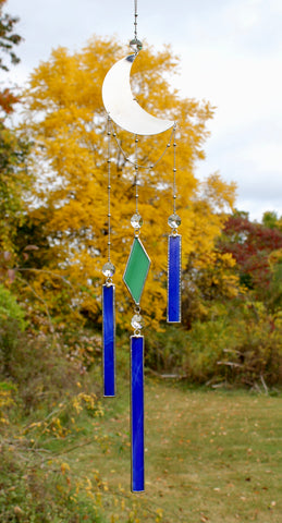Blue and Green Celestial Crystal Prism Mobile with Stained Glass