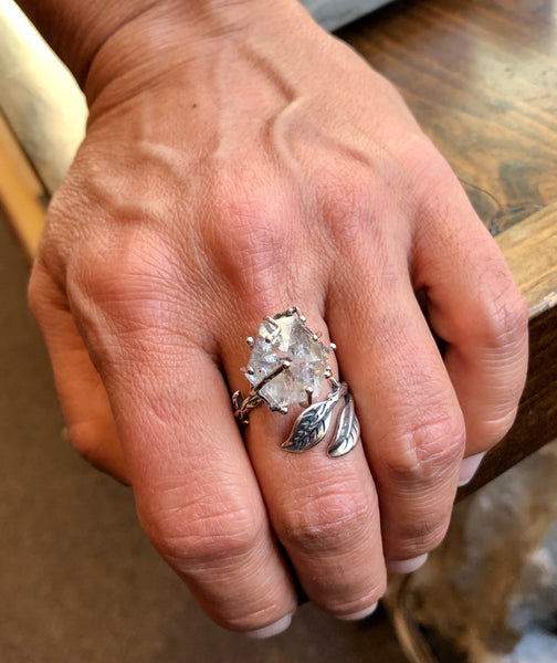Dramatic Herkimer Diamond Silver Vine Ring